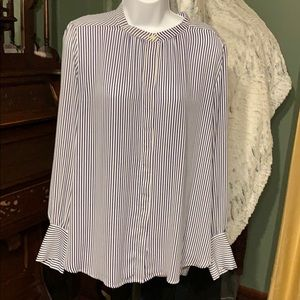 Loft blue and white striped blouse